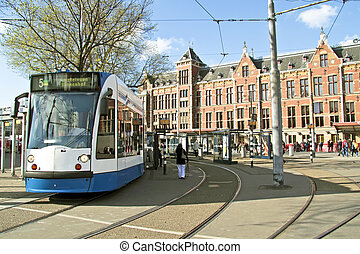 pays-bas, central, tram, attente, station, amsterdam