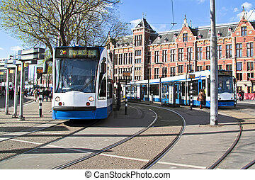 pays-bas, central, tramways, attente, station, amsterdam