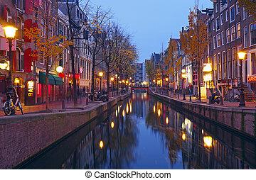 pays-bas, district, lumière, nuit, amsterdam, rouges