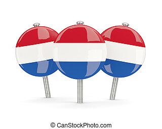 pays-bas, epingles, drapeau, rond