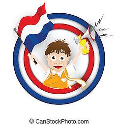 pays-bas, football, ventilateur, drapeau, dessin animé