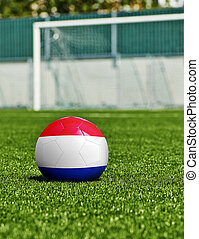 Pays-Bas, herbe, drapeau, balle, stade, football