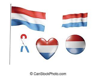 pays-bas, icônes, -, drapeau, ensemble, drapeaux