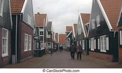 pays-bas, musée, village, marken, traditionnel, maisons, hollandais
