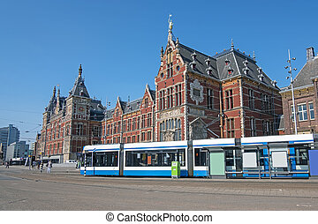 pays-bas, station, tramways, amsterdam, attente, central