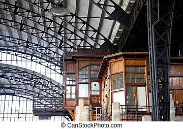 pays-bas, vieux, bureau, train, haarlem, station, intérieur