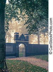 pays-bas, vieux, juif, cimetière, parc, hollandais, elburg