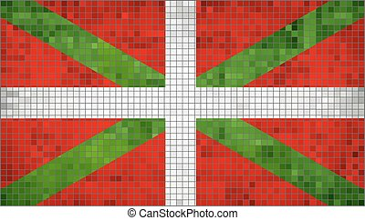 Pays Basque flag, Ikurrina, Flag Of Basque Country, Abstract Mosaic Flag of Basque, Grunge Flag of Basque Flags, Abstract grunge mosaic vector
