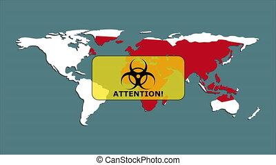 pays, biohazard, red., porcelaine, earth., partout, mouvement, écarts, rempli, fond, apparaît, coronavirus, avertissement, mondiale, graphics., map., signe