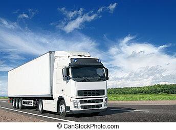 pays, blanc, camion, autoroute