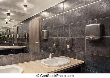 pays boisé, salle bains, hôtel, -