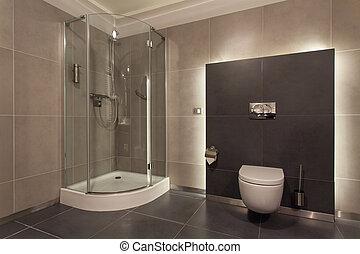 pays boisé, salle bains, hôtel, -, luxueux