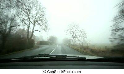 pays, brouillard, -, voyage, route
