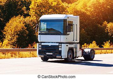 pays, camion, autoroute, conduite