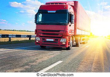 pays, camion, rouges, autoroute