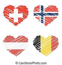 pays, -, collection, drapeaux, cœurs, dessin ligne
