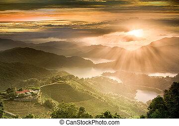 pays, coucher soleil, lac