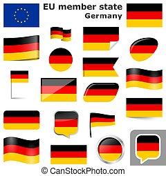 pays, couleurs, drapeaux, allemagne