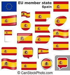 pays, couleurs, drapeaux, espagne