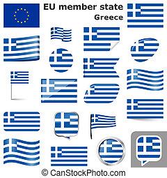 pays, couleurs, drapeaux, grèce
