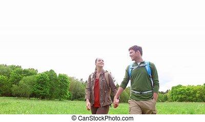 pays, couple, promenade, sacs dos, route, heureux