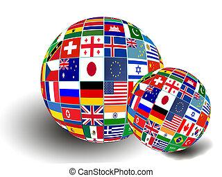 pays, différent, drapeau, globe, drapeaux