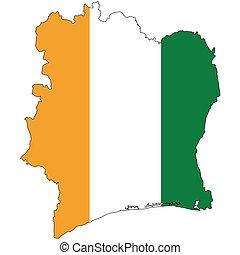 pays, drapeau, cote, contour, ivoire