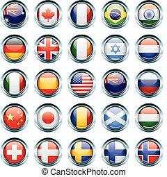 pays, drapeau, icônes