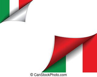pays, drapeau, italie, page tournant