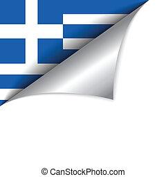 pays, drapeau, page tournant, grèce