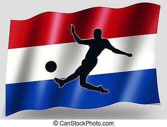 pays, drapeau, sport, icône, silhouette, hollandais, football