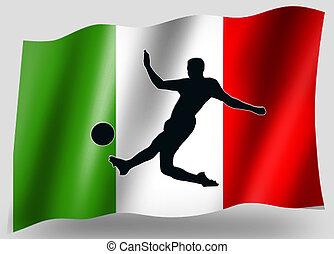pays, drapeau, sport, icône, silhouette, italien, football