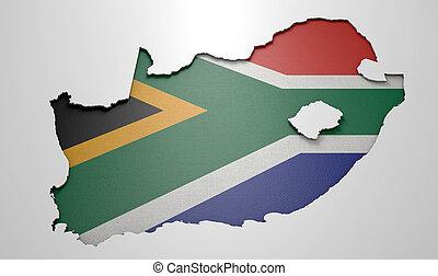 pays, encastré, afrique, sud, carte
