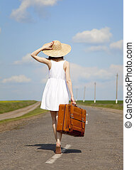 pays, girl, solitaire, road., valise