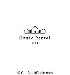 pays, house., theme., main, vecteur, gabarit, dessiné, logo, propriété, loyer