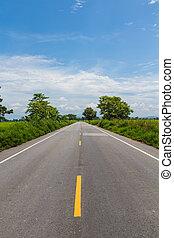 pays, ligne, arbre, route