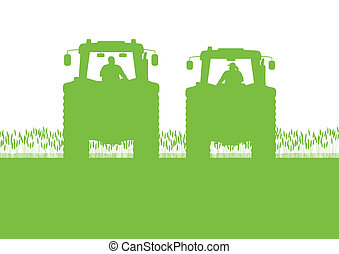 pays, maïs, illustration, champ, vecteur, tracteur, fond, cultivé, agriculture, paysage