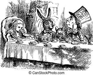 pays merveilles, fête, original, vendange, gravure, alice, thé, fou, hatter's