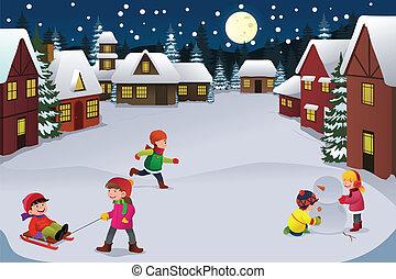 pays merveilles, gosses, hiver, jouer