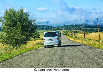pays, minibus, autoroute