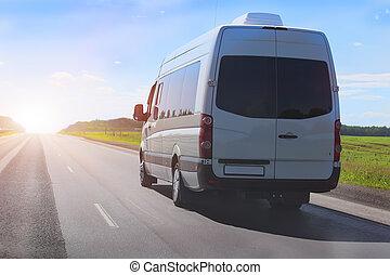 pays, minibus, autoroute, va