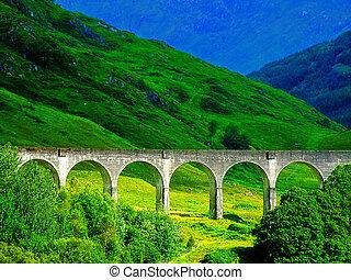 pays montagne, glennfinnan, ouest, viaduc, ecosse, célèbre