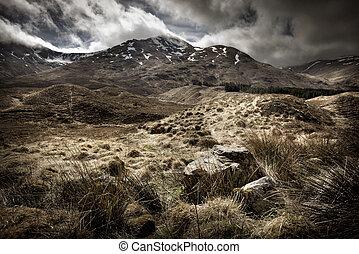 pays montagne, paysage, écossais