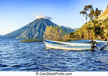 pays montagne, san, lac, pedro, guatémaltèque, atitlan, volcan