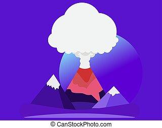 pays montagne, style., prés, éruption, fond, volcan, illustration, paysage., nuit, plat, vecteur