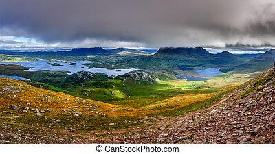 pays montagne, vue, uni, ecosse, secteur, royaume, inverpolly, panoramique, montagnes
