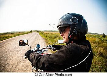 pays, motard, route