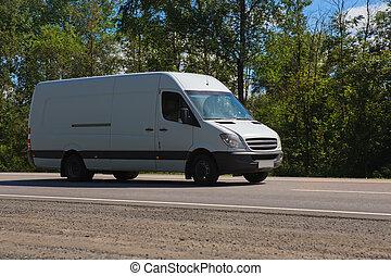 pays, mouvements, route, minibus