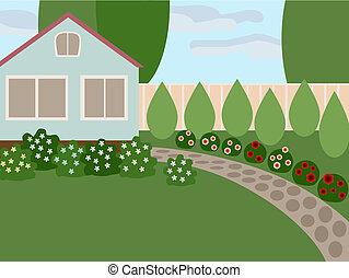pays, pelouse, maison
