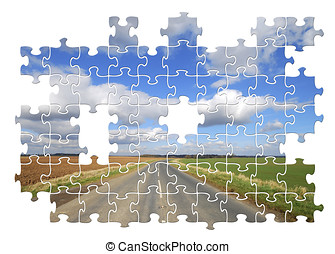 pays, puzzle, route,  Yorkshire